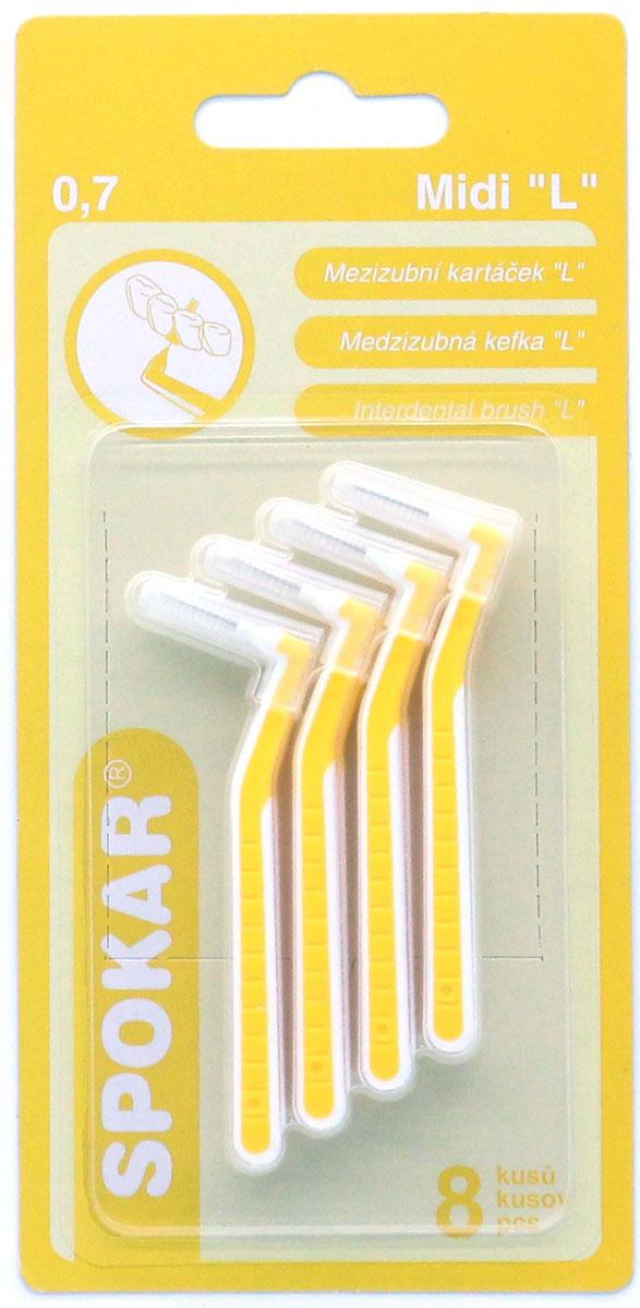 Spokar Ultra 0,7 конический ершик с изогнутой ручкой, 8 шт07Интердентальный конический ершик с изогнутой ручкой, в индивидуальном колпачке, диаметр 0,7, 8 шт.