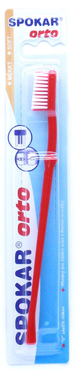 Spokar Orto Soft ортодонтическая зубная щетка, цвет красный3412мОртодонтическая зубная щетка с U образным вырезом, мягкая