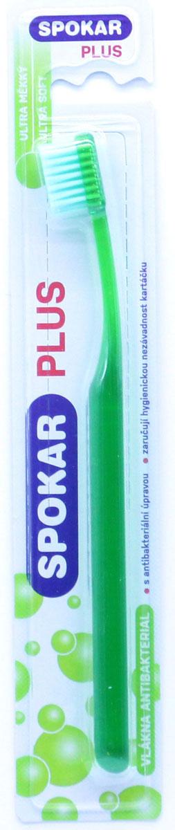 Spokar Зубная щетка Plus Ultra Soft, антибактериальная, цвет зеленый3428USАнтибактериальная зубная щетка с ультра мягкими волокнами, прямой срез, прозрачная ручка.