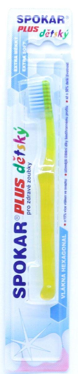 Spokar Plus детская зубная щетка, до 6 лет, цвет желтый3432ESДетская зубная щетка с экстра мягкими волокнами. Специальные экстра мягкие ШЕСТИУГОЛЬНЫЕ щетинки, плоское щеточное поле, безопасная круглая ручка прозрачная без мягких элементов. Для детей до 6 лет.