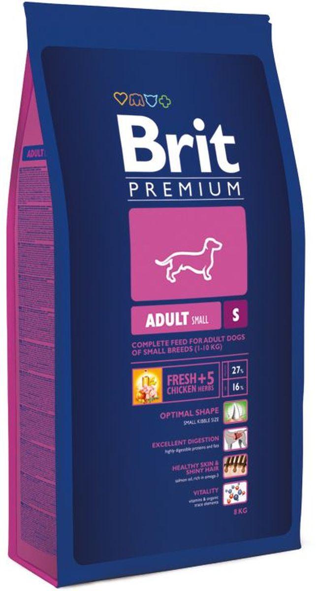 Корм сухой Brit Premium Adult S для взрослых собак мелких пород, с курицей, 8 кг корм для всех пород собак brit premium гипоаллергенный 1 кг