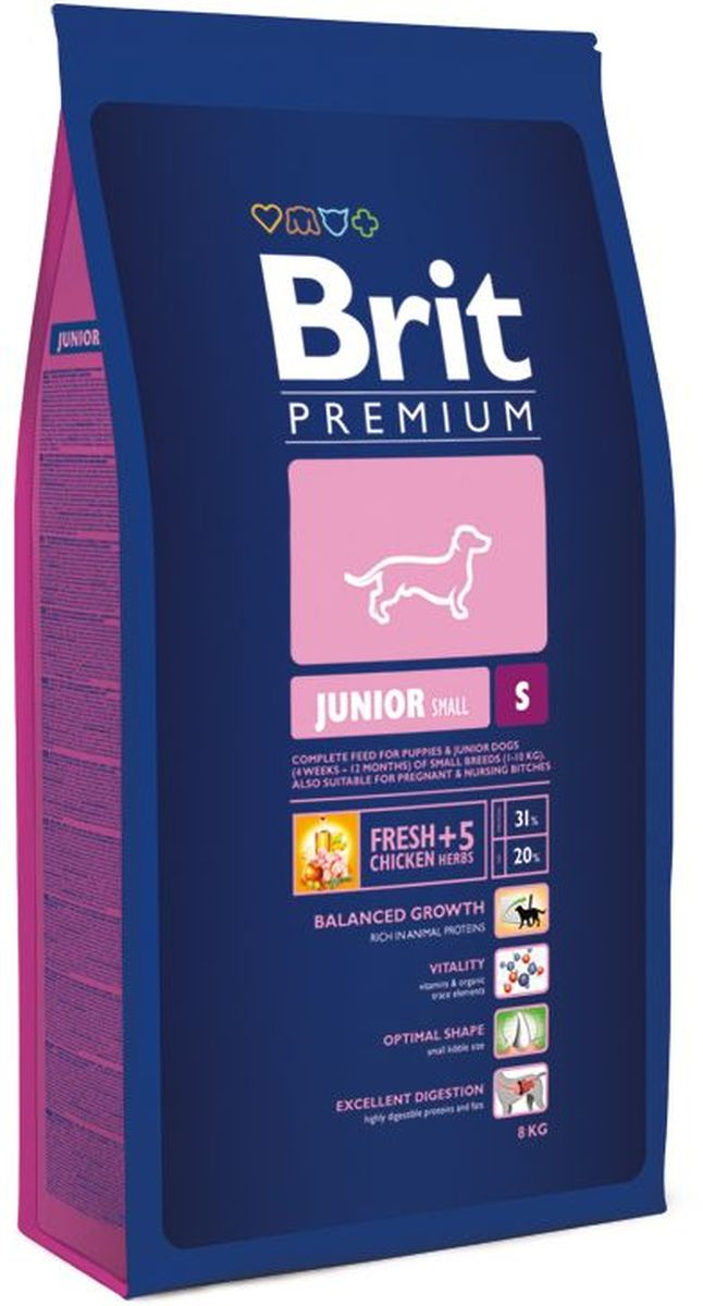 Корм сухой Brit Premium Junior S для молодых собак мелких пород, с курицей, 8 кг132333Полнорационный корм Brit Premium Junior S подходит для щенков и молодых собак (4-12 месяцев) мелких пород (1-10 кг). Так же рекомендуется для беременных и кормящих сук. У мелких пород собак небольшой и очень чувствительный желудочно-кишечный тракт и при этом довольно высокие потребности в питательных веществах. Именно по этой причине корма для таких пород должны иметь очень высокую степень усвояемости и тщательно сбалансированный формулу содержания питательных веществ. У мелких пород намного выше потребность в активных антиоксидантах, которые положительно влияют на иммунитет и способствуют продолжительности жизни животного. Оптимальное соотношение Омега-3 и Омега-6 жирных кислот, которые способствуют активности мозга и правильному развитию нервной системы, что необходимо для развития полноценной жизнедеятельности вашего питомца.Состав: курица (42%), рис, кукуруза, пшеница, куриный жир (консервирован токоферолами), рыбий жир из лосося, натуральные ароматизаторы, экстракт из трав и фруктов (300 мг/кг), пивные дрожжи, сушеные яблоки, минеральные вещества, глюкозамина гидрохлорид (260 мг/кг), хондроитина сульфат 160 мг/кг, маннанолигосахариды 150 мг/кг, фруктоолигосахариды 100 мг/кг, экстракт юкки Шидигера 80 мг/кг, органическая медь, органический цинк, органический селен. Аналитические составляющие: сырой протеин 31,0 %, сырой жир 20,0 %, влага 10,0 %, сырая зола 6,5 %, сырая клетчатка 2,3 %, кальций 1,5 %, фосфор 1,1 %. Пищевые добавки на 1 кг: витамин A 20 000 МЕ, витамин D3 1 900 МЕ, витамин E (a-токоферол) 600 мг, Е6 цинк 100 мг, Е1 железо 90 мг, Е5 марганец 45 мг, Е4 медь 20 мг, Е2 йод 1 мг, Е8 селен 0,2 мг. Энергетическая ценность: 4397 ккал/кг.Товар сертифицирован.