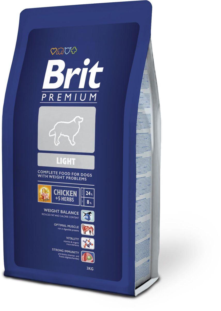 Корм сухой Brit Premium Light для собак, склонных к полноте, с курицей и травами, 3 кг132340Полнорационный корм Brit Premium Light предназначен для собак склонных к полноте, малоподвижных или с избыточной массой тела. Пониженное содержание жира и калорий поддерживают массу животного. Повышенное содержание легко усваиваемых протеинов обеспечивает оптимальную мускулатуру. Витамины и органические микроэлементы дают сильную жизненную энергию, а пребиотики (манано- и фрукто-олигосахариды) обеспечивают стойкий иммунитет. Состав: курица 36%, рис, кукуруза, пшеница, куриный жир (консервирован токоферолами), рыбий жир из лосося, пивные дрожжи, натуральные ароматизаторы, экстракт из трав и фруктов 300 мг/кг, сушеные яблоки, минеральные вещества, маннанолигосахариды 150 мг/кг, фруктоолигосахариды 100 мг/кг, экстракт юкки Шидигера 80 мг/кг, органическая медь, органический цинк, органический селен. Аналитические составляющие: сырой протеин 24,0 %, сырой жир 8,0 %, влага 10,0 %, сырая зола 6,2 %, сырая клетчатка 2,5 %, кальций 1,4 %, фосфор 1,0 %. Энергетическая ценность: 3 776 ккал/кг.Пищевые добавки на 1 кг: витамин A 15 000 МЕ, витамин D3 1 500 МЕ, витамин E (a-токоферол) 500 мг, Е1 железо 80 мг, Е6 цинк 70 мг, Е5 марганец 36 мг, Е4 медь 20 мг, Е2 йод 0,65 мг, Е8 селен 0,2 мг. Товар сертифицирован.Чем кормить пожилых собак: советы ветеринара. Статья OZON Гид