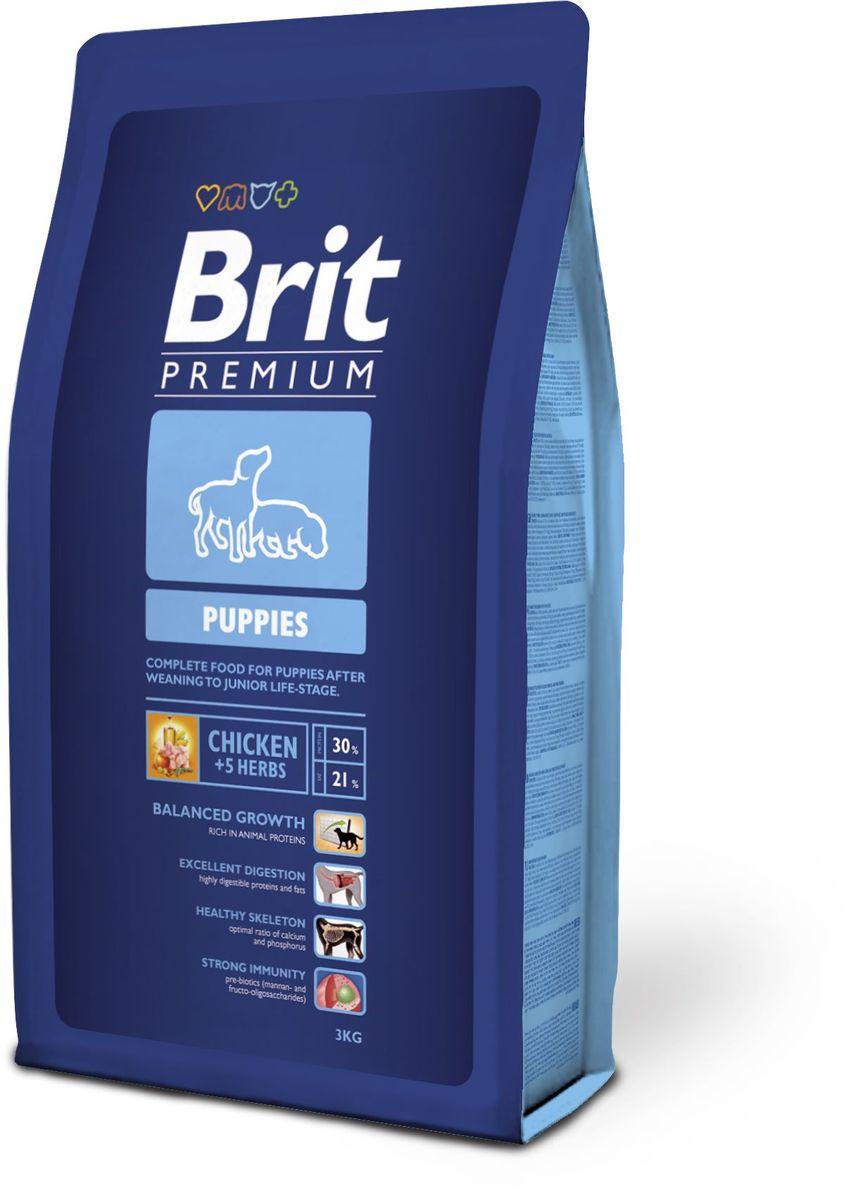 Корм сухой Brit Premium Puppies, для щенков всех пород, с курицей и травами, 3 кг корм для всех пород собак brit premium гипоаллергенный 1 кг