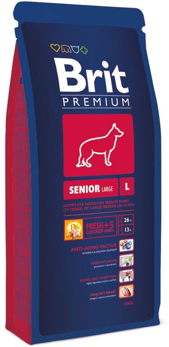 Корм сухой Brit Premium Senior L для пожилых собак крупных пород, с курицей, 15 кг132343Высококачественный корм Brit Premium Senior L является полнорационным кормом для стареющих собак (от 7 лет и старше) крупных пород (25–45 кг). Для собак крупных пород очень важно правильное поэтапное питание в период роста. Период роста у собак крупных пород длится до двух лет, это более длительный процесс, чем у мелких и средних пород. Для взрослых собак крупных пород необходимо высокое содержание в корме антиоксидантов хондропротектов для здоровья суставов. Собаки крупных пород очень часто имеют чувствительный желудочно-кишечный тракт, поэтому для них очень важно содержание пребиотиков в корме, так как они улучшают здоровье кишечной флоры и поддерживают нормальное функционирование желудочно-кишечного тракта. Состав: мука из мяса курицы (40%), рис, кукуруза, пшеница, куриный жир (консервированный токоферолами), масло лосося, пивные дрожжи, натуральные ароматизаторы, сушеные яблоки, минеральные вещества, экстракт из трав и фруктов (300 мг/кг), глюкозамина гидрохлорид (260 мг/кг), хондроитина сульфат (160 мг/кг), мананоолигосахариды (150 мг/кг), фруктоолигосахариды (100 мг/кг), экстракт юкки шидигеры (80 мг/кг), органическая Е4 медь, органический Е6 цинк, органический селен. Пищевая ценность: сырой протеин - 26%, сырой жир - 13%, влага - 10%, сырая зола - 6,7%, сырая клетчатка - 2,5%, кальций - 1,4%, фосфор - 1,1%. Пищевые добавки на 1 кг: витамин А - 15000 МЕ, витамин D3 - 1500 МЕ, витамин Е - 500 мг, железо - 80 мг, цинк - 70 мг, марганец - 36 мг, медь - 20 мг, йод - 0,65 мг, селен - 0,2 мг. Энергетическая ценность: 4123 ккал/кг. Товар сертифицирован.