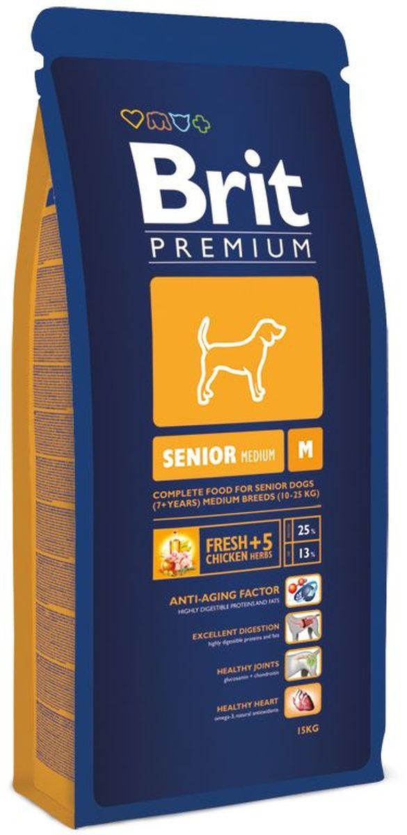 Корм сухой Brit Premium Senior M для пожилых собак средних пород, с курицей, 15 кг132345Полнорационный корм Brit Premium Senior M подходит для стареющих собак (от 7 лет и старше) средних пород (10-25 кг). Как правило, собаки средних пород - рабочие собаки. Для активно работающих собак очень важно иметь правильное пищеварение и здоровый пищеварительный тракт, что в полной мере может обеспечить баланс клетчатки и пребиотиков, который оптимален в кормах Brit. Содержание Омега-3 и Омега-6 жирных кислот способствует правильному развитию и деятельности головного мозга. Жирные кислоты так же поддерживают отличное состояние кожи и шерсти, способствует скорейшему заживлению ран и восстановлению после травм, а входящие в состав активные антиоксиданты, поддерживают развитие деятельности иммунной системы. Средние породы склонны к ожирению, поэтому для них необходим оптимальный баланс протеинов и жиров. Состав: мука из мяса курицы (40%), кукуруза, пшеница, рис, куриный жир (консервирован токоферолами), масло лосося, пивные дрожжи, натуральные ароматизаторы, сушеные яблоки, минеральные вещества, экстракт из трав и фруктов (300 мг/кг), маннанолигосахариды (150 мг/кг), фруктоолигосахариды (100 мг/кг), экстракт юкки Шидигера (80 мг/кг), органическая медь, органический цинк, органический селен. Аналитические составляющие: сырой протеин 25,0 %, сырой жир 13,0 %, влага 10,0 %, сырая зола 6,3 %, сырая клетчатка 2,2 %, кальций 1,4 %, фосфор 0,9 %.Пищевые добавки на 1 кг: витамин A 15 000 МЕ, витамин D3 1 500 МЕ, витамин E (a-токоферол) 500 мг, Е1 железо 80 мг, Е6 цинк 70 мг, Е5 марганец 36 мг, Е4 медь 20 мг, Е2 йод 0,65 мг, Е8 селен 0,2 мг. Энергетическая ценность: 4073 ккал/кг.Товар сертифицирован.