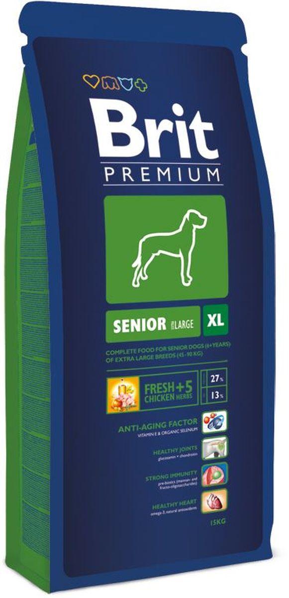 Корм сухой Brit Premium  Senior XL  для пожилых собак гигантских пород, с курицей, 15 кг