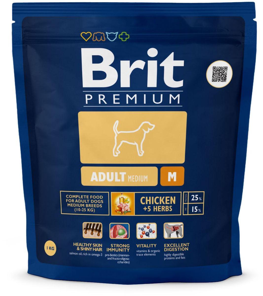 Корм сухой Brit Premium Adult M для взрослых собак средних пород, с курицей и травами, 1 кг132354Сухой корм Brit Premium Adult M - полнорационный корм для взрослых собак средних пород (10-25 кг). Как правило, собаки средних пород - рабочие собаки. Для активно работающих собак очень важно иметь правильное пищеварение и здоровый пищеварительный тракт, что в полной мере может обеспечить баланс клетчатки и пребиотиков, который оптимален в кормах Brit. Содержание Омега-3 и Омега-6 жирных кислот способствует правильному развитию и деятельности головного мозга. Жирные кислоты так же поддерживают отличное состояние кожи и шерсти, способствует скорейшему заживлению ран и восстановлению после травм, а входящие в состав активные антиоксиданты, поддерживают развитие деятельности иммунной системы. Средние породы склонны к ожирению, поэтому для них необходим оптимальный баланс протеинов и жиров. Состав: мука из мяса курицы (41%), кукуруза, пшеница, рис, куриный жир (консервированный токоферолами), масло лосося, пивные дрожжи, натуральные ароматизаторы, сушеные яблоки, минеральные вещества, экстракт из трав и фруктов (300 мг/кг), мананоолигосахариды (150 мг/кг), фруктоолигосахариды (100 мг/кг), экстракт юкки шидигеры (80 мг/кг), органическая Е4 медь, органический Е6 цинк, органический селен. Аналитические составляющие: сырой протеин 25,0%, сырой жир 15,0%, влага 10,0%, сырая зола 6,4%, необработанные волокна 2,2%, кальций 1,4%, фосфор 1,0%. Пищевые добавки: витамин A 15 000 МЕ, витамин D3 1 500 МЕ, витамин E (q-токоферол) 500 мг, Е1 железо 80 мг, Е6 цинк 70 мг, Е5 марганец 36 мг, Е4 медь 20 мг, Е2 йод 0,65 мг, Е8 селен 0,2 мг. Энергетическая ценность: 4 143 ккал/кг. Товар сертифицирован.