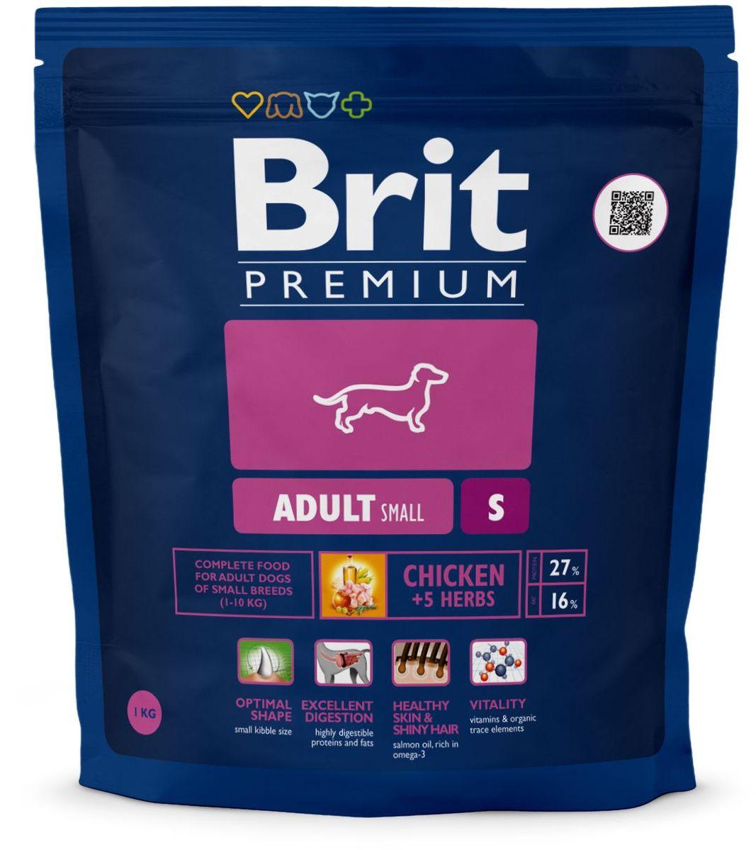 Корм сухой Brit Premium Adult S для взрослых собак мелких пород, с курицей, 1 кг132383Сухой корм Brit Premium Adult S - полнорационный корм для взрослых собак маленьких пород (1-10 кг). У мелких пород собак небольшой и очень чувствительный желудочно-кишечный тракт и при этом довольно высокие потребности в питательных веществах. Именно по этой причине корма для таких пород должны иметь очень высокую степень усвояемости и тщательно сбалансированный формулу содержания питательных веществ. У мелких пород намного выше потребность в активных антиоксидантах, которые положительно влияют на иммунитет и способствуют продолжительности жизни животного. Оптимальное соотношение Омега-3 и Омега-6 жирных кислот, которые способствуют активности мозга и правильному развитию нервной системы, что необходимо для развития полноценной жизнедеятельности вашего питомца. Состав: мука из мяса курицы (41%), кукуруза, пшеница, рис, куриный жир (консервированный токоферолами), масло лосося, пивные дрожжи, натуральные ароматизаторы, сушеные яблоки, минеральные вещества, экстракт из трав и фруктов (300 мг/кг), мананоолигосахариды (150 мг/кг), фруктоолигосахариды (100 мг/кг), экстракт юкки шидигеры (80 мг/кг), органическая медь, органический цинк, органический селен. Аналитические составляющие: сырой протеин 27,0 %, сырой жир 16,0 %, влага 10,0 %, сырая зола 6,5 %, сырая клетчатка 2,5 %, кальций 1,4 %, фосфор 1,1 %. Пищевые добавки на 1 кг: витамин A 15 000 МЕ, витамин D3 1 500 МЕ, витамин E (q-токоферол) 500 мг, Е1 железо 80 мг, Е6 цинк 70 мг, Е5 марганец 36 мг, Е4 медь 20 мг, Е2 йод 0,65 мг, Е8 селен 0,2 мг.Энергетическая ценность: 4172 ккал/кг. Товар сертифицирован.