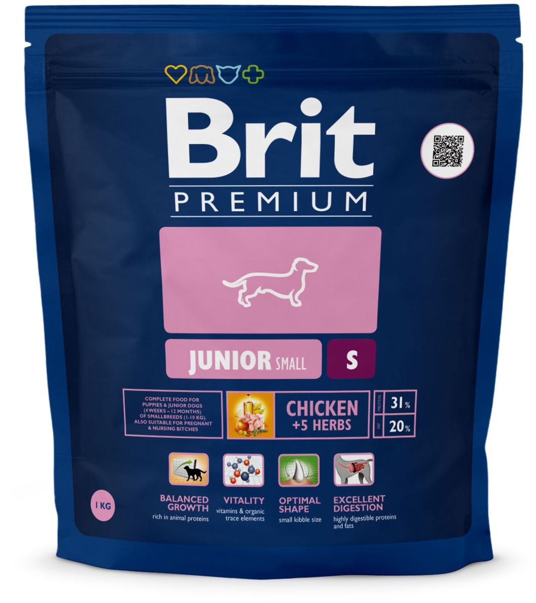 Корм сухой Brit Premium Junior S для молодых собак мелких пород, с курицей, 1 кг корм для всех пород собак brit premium гипоаллергенный 1 кг