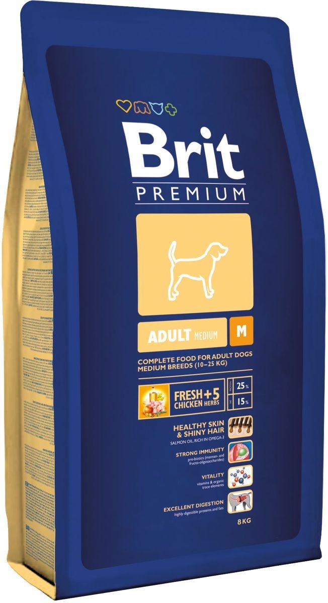 Корм сухой Brit Premium Adult M для взрослых собак средних пород, 8 кг132386Сухой корм Brit Premium Adult M - полнорационный корм для взрослых собак средних пород (10-25 кг). Как правило, собаки средних пород - рабочие собаки. Для активно работающих собак очень важно иметь правильное пищеварение и здоровый пищеварительный тракт, что в полной мере может обеспечить баланс клетчатки и пребиотиков, который оптимален в кормах Brit. Содержание Омега-3 и Омега-6 жирных кислот способствует правильному развитию и деятельности головного мозга. Жирные кислоты так же поддерживают отличное состояние кожи и шерсти, способствует скорейшему заживлению ран и восстановлению после травм, а входящие в состав активные антиоксиданты, поддерживают развитие деятельности иммунной системы. Средние породы склонны к ожирению, поэтому для них необходим оптимальный баланс протеинов и жиров. Состав: мука из мяса курицы (41%), кукуруза, пшеница, рис, куриный жир (консервированный токоферолами), масло лосося, пивные дрожжи, натуральные ароматизаторы, сушеные яблоки, минеральные вещества, экстракт из трав и фруктов (300 мг/кг), мананоолигосахариды (150 мг/кг), фруктоолигосахариды (100 мг/кг), экстракт юкки шидигеры (80 мг/кг), органическая Е4 медь, органический Е6 цинк, органический селен. Аналитические составляющие: сырой протеин 25,0%, сырой жир 15,0%, влага 10,0%, сырая зола 6,4%, необработанные волокна 2,2%, кальций 1,4%, фосфор 1,0%. Пищевые добавки: витамин A 15 000 МЕ, витамин D3 1 500 МЕ, витамин E (q-токоферол) 500 мг, Е1 железо 80 мг, Е6 цинк 70 мг, Е5 марганец 36 мг, Е4 медь 20 мг, Е2 йод 0,65 мг, Е8 селен 0,2 мг. Энергетическая ценность: 4 143 ккал/кг. Товар сертифицирован.