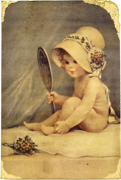 Открытка Красавица с зеркальцем. Авторская работа. Д2Д2