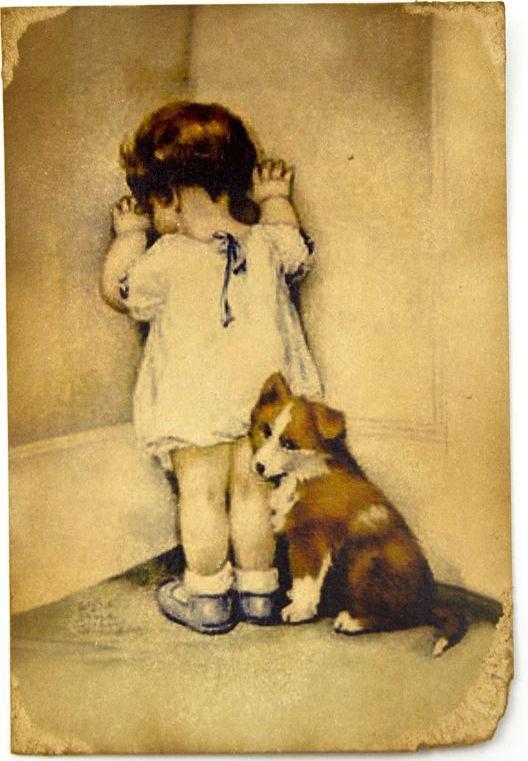 Открытка Девочка в углу с собачкой. Авторская работа. Д5Д5