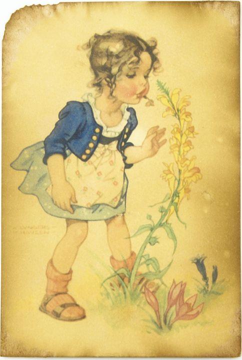 Открытка Девочка дует на цветок. Авторская работа. Д6Д6