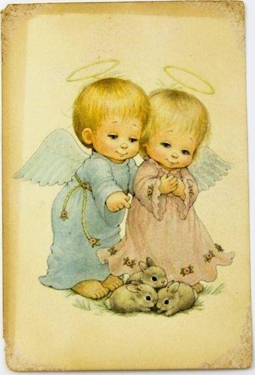 Открытка Ангелочки с зайчатами.Авторская работа. Д8Д8