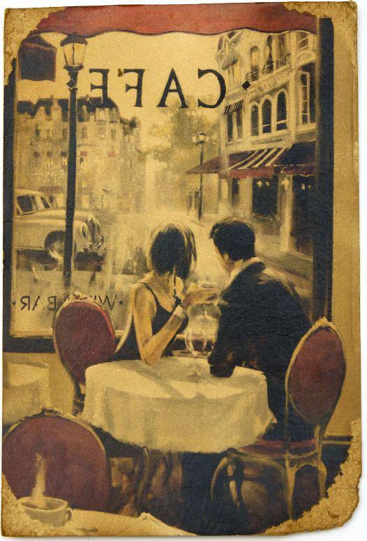 Открытка В Парижском кафе. Авторская работа. П3П3