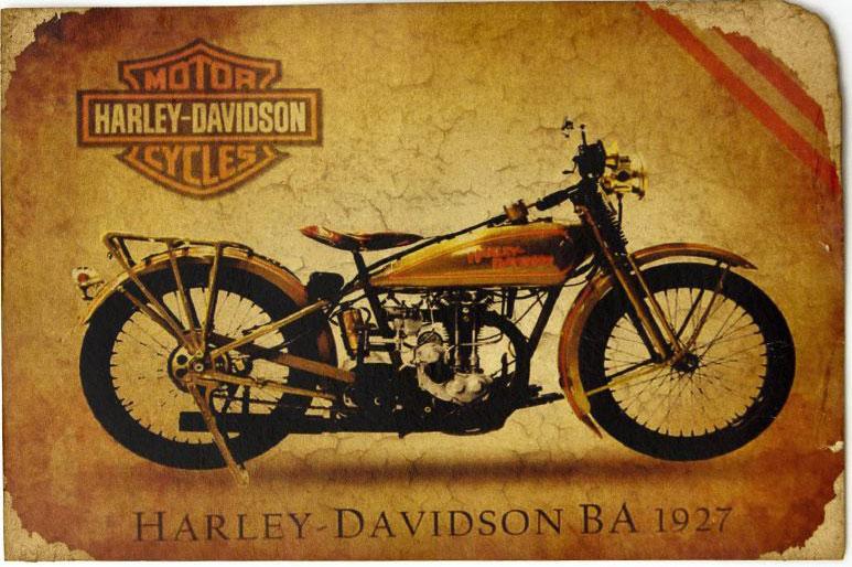 Открытка Легендарный мотоцикл HD BA 1927 г.. Авторская работа. РА5РА5