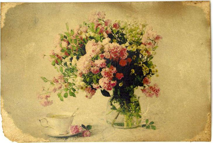 Открытка Розы и чашка кофе. Авторская работа. Ц5Ц5