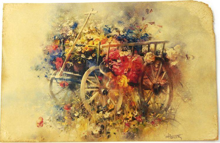 Открытка Полевые цветы в телеге. Авторская работа. Ц6Ц6
