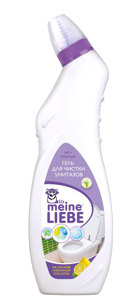 """Гель для чистки унитазов """"Meine Liebe"""" на основе лимонной кислоты:  - эффективно удаляет загрязнения и обеспечивает сияющую чистоту;  - борется с неприятными запахами, оставляя свежий аромат лемонграсса;  - не содержит хлор и абразивы, благодаря чему, не повреждает поверхность;    - удаляет известковый налет, ржавчину и мочевой камень;  - препятствует размножению бактерий. Рекомендуется использовать перчатки и тщательно мыть руки после работы.    Состав: деминерализованная вода,   Уважаемые клиенты! Обращаем ваше внимание на то, что упаковка может иметь несколько видов   дизайна.   Поставка осуществляется в зависимости от наличия на складе.      Как выбрать качественную бытовую химию, безопасную для природы и людей. Статья OZON Гид"""