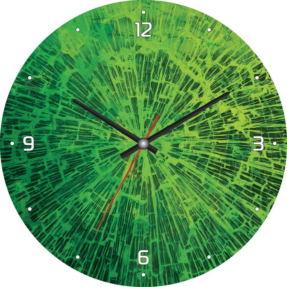 Часы настенные Postermarket, цвет: зеленый, диаметр 30 см. CL-20CL-20Стильные настенные часы Postermarket станут изюминкой в дизайне интерьера вашего дома. Корпус часов выполнен из стекла с декоративным покрытием. Часы имеют три стрелки - часовую, минутную и секундную. Часовой механизм сзади закрыт пластиковым корпусом.Кварцевые часы работают от сменной батареи. Диаметр: 30 см.