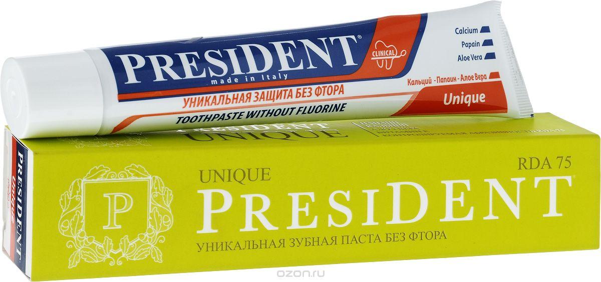 President Зубная паста Unique, 75 мл4310-502269President Unique зубная паста - это уникальное средство с системой кальция, которое рекомендуется всем живущим в регионе с повышенным содержанием фтора в воде. Особенности пасты President Unique:- контролируемая абразивность RDA 75 - аморфный и химически-инертный кремний обеспечивает эффективное и безопасное удаление зубного налета, предотвращает образование зубного камня.- средство можно применять каждый день, что отличает ее от прочих медицинских зубных паст, которые необходимо использовать только в течение определенного времени.- защита от бактерий, вызывающих кариес.- эффективно и бережно удаляет бактериальный налёт.- быстрое восстановление блеска, гладкости эмали, природной белизны зубов.- благотворно влияет на дёсны, предупреждает кровоточивость.- является богатым источником кальция и фосфатов. Объем 75 мл.