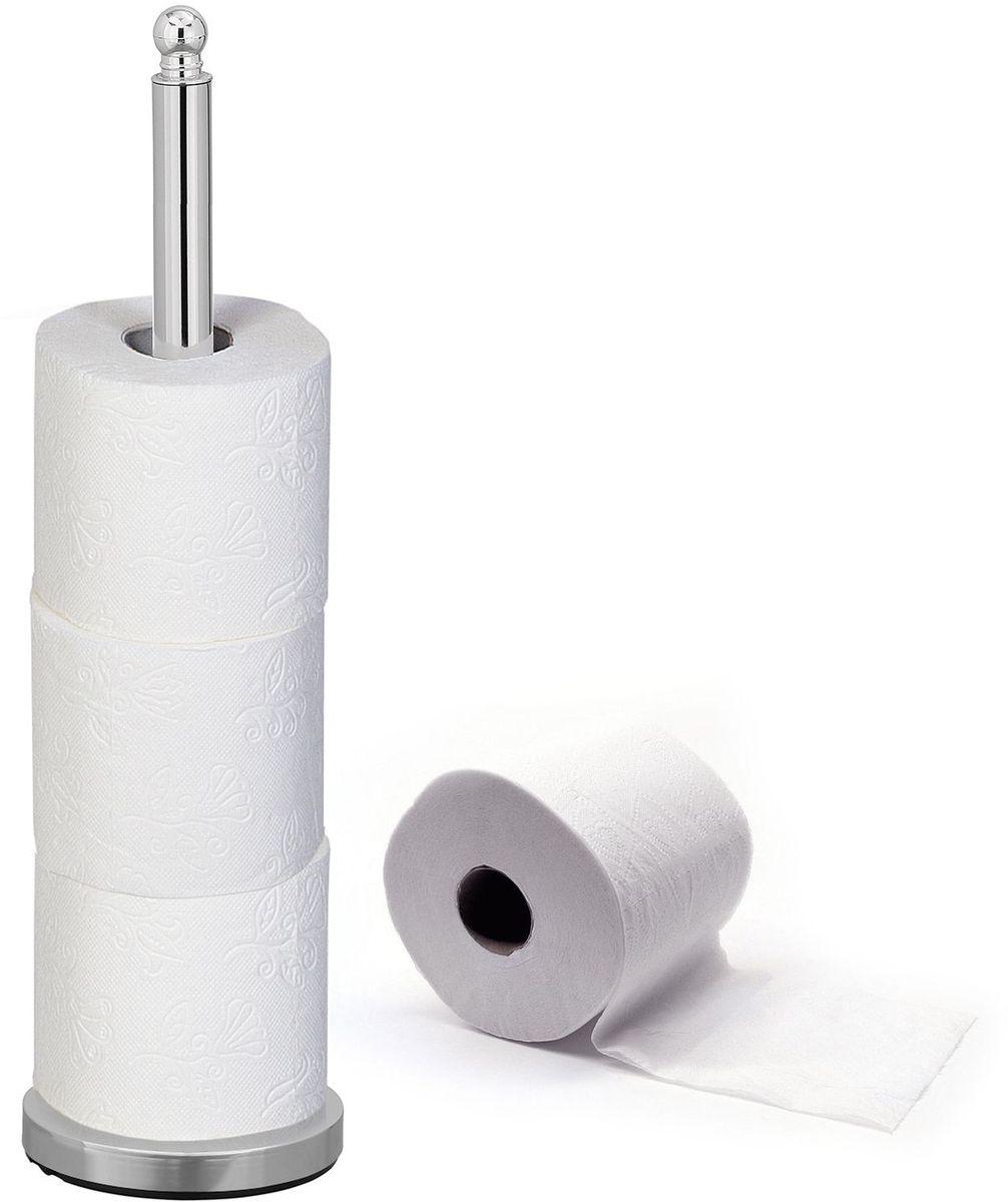 Напольный держатель для 4-x рулонов туалетной бумаги, тяжелое основание обеспечит устойчивость. Быстрый монтаж, не требуется никаких инструментов. Прочная и блестящая хромированная сталь. Подходит для помещений с повышенной влажностью.
