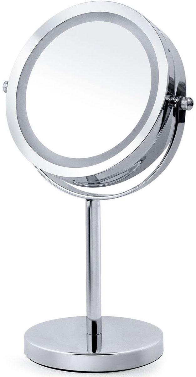 Зеркало косметическое Tatkraft Merry, настольное, LED-подсветкой, цвет: серый металлик, диаметр 11,7 см16392Tatkraft Merry Косметическое зеркало двухстороннее с подсветкой LED, d- 11,7, 18х11,7х30H, с увеличением с одной сторон - 1Х и с другой 3X. Вращается на 360 градусов. Для LED использовать батарейки 3АА, батарейки не включены в комплект! Материал: Хромированная сталь, стекло