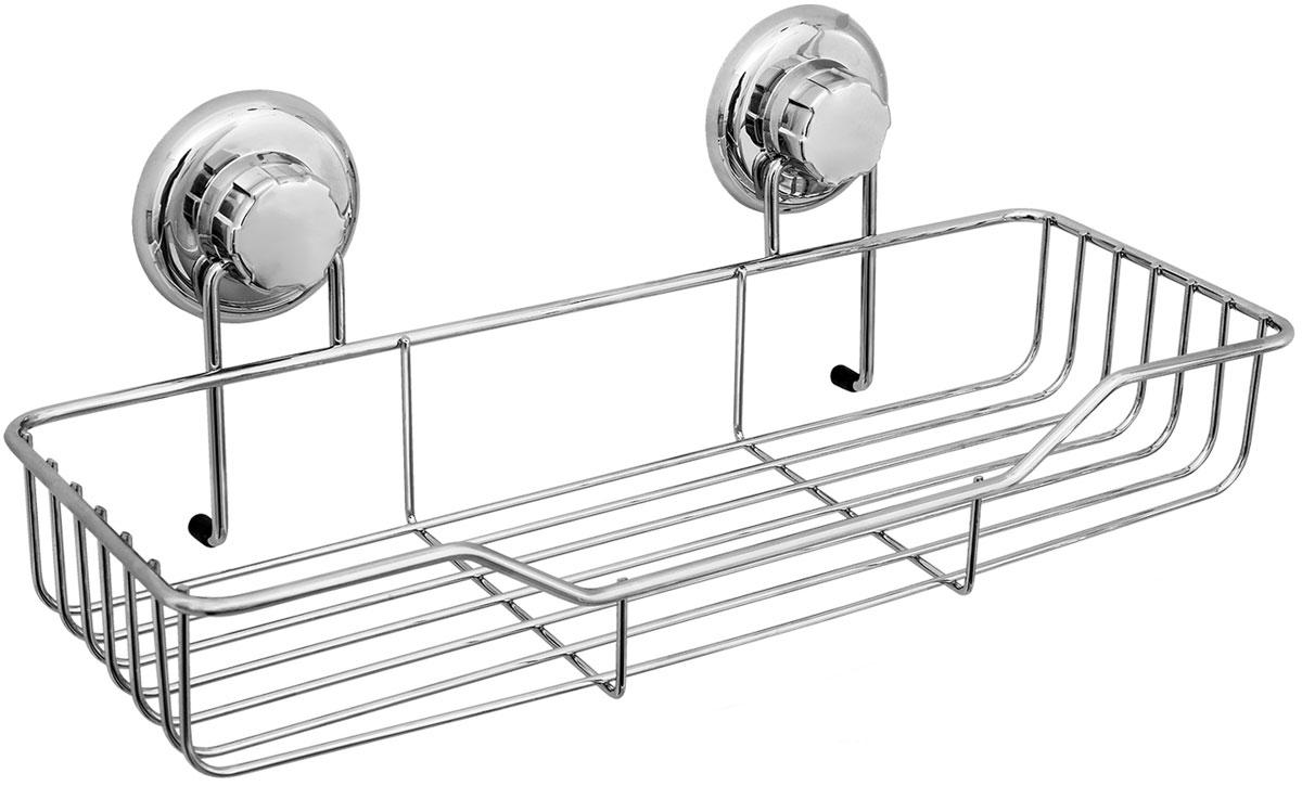 Полка для ванной комнаты Tatkraft Mega Lock, цвет: серый металлик, 38 x 14 x 6 см стойка для одежды и обуви tatkraft saturn 3 уровня на колесах с регулируемой шириной и высотой 84 121 5 x 42 5 x 113 198 см