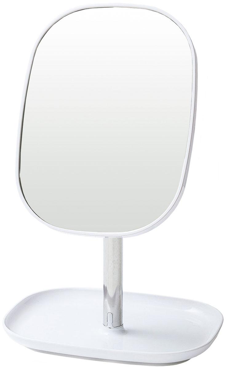 Зеркало косметическое Tatkraft  Elba , с подставкой для украшений, цвет: серый металлик, 17,8 x 12,8 x 24 см - Мебель