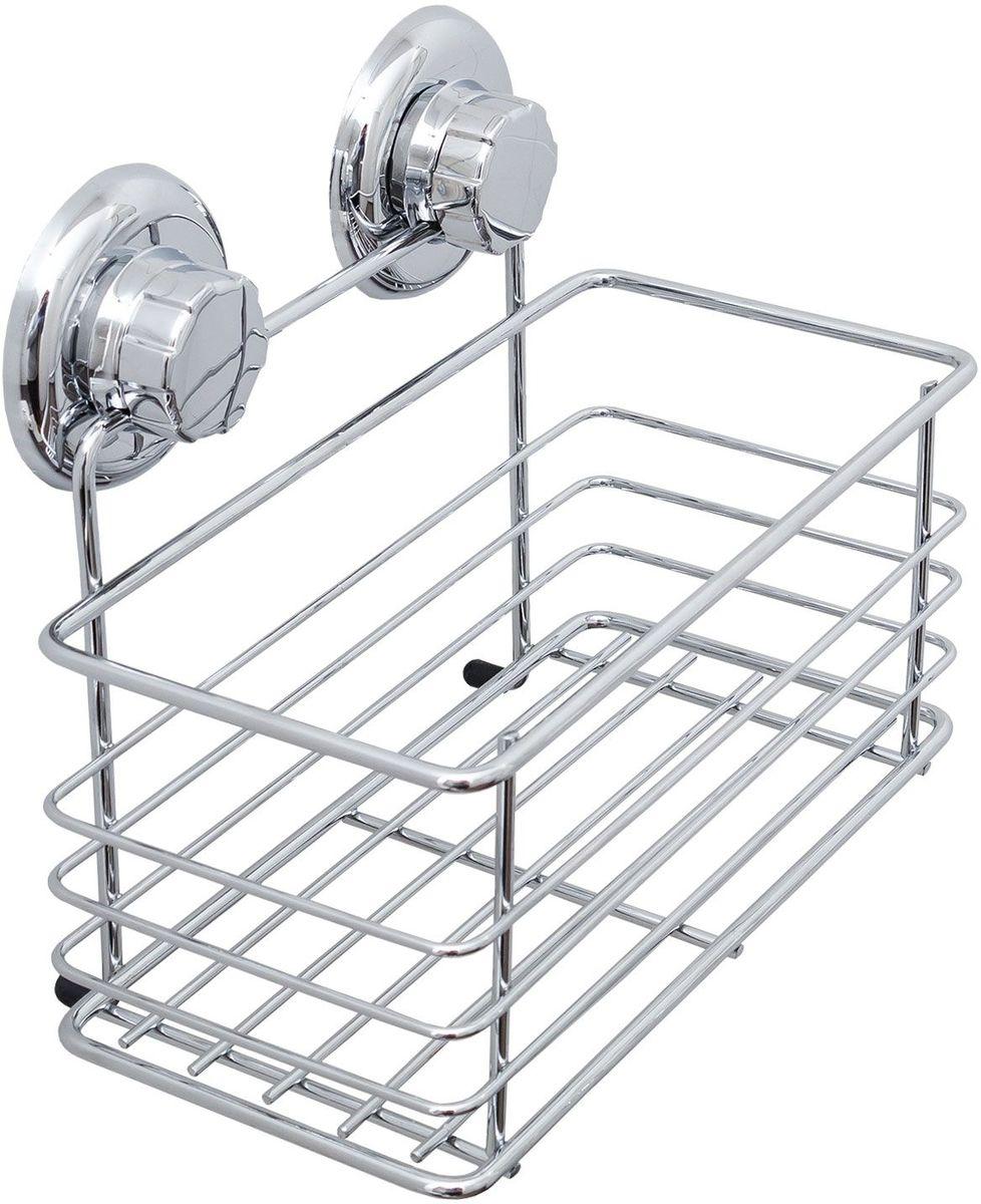 Полка для ванной комнаты Tatkraft Mega Lock Vena, цвет: серый металлик20429Tatkraft Mega Lock Vena Полка для ванной комнаты прямоугольная, вакуммные присоски 2шт. D- 72 мм. Материал: Хромированная сталь