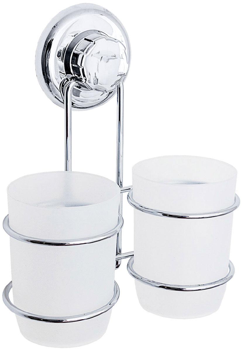 Стакан для ванной комнаты Tatkraft Mega Lock Odr, цвет: серый металлик, 2 шт20436Tatkraft Mega Lock Odr Два стакана для ванной комнаты, вакуммная присоска 1шт. D- 72 мм. Материал: Хромированная сталь