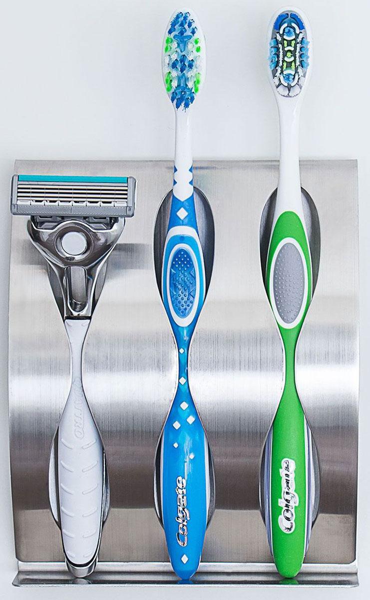 """Держатель для зубных щеток и бритвы Tatkraft """"Greta"""" самоклеящийся имеет 3 слота. Супер сильные самоклеящиеся застежки. Водоотталкивающий. Прочный. Легко крепится к любой плоской поверхности. Изготовлен из полированной нержавеющей стали 430. Простота в использовании, современный дизайн."""