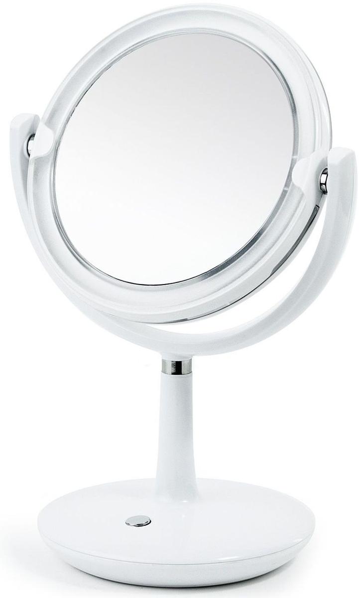 Зеркало косметическое Tatkraft Valge, настольное, LED-подсветкой, цвет: белый, диаметр 16 см20535Косметическое двухстороннее зеркало Tatkraft Valge имеет 2 уровня подсветки. Изделие выполнено из ABS-пластика, стекла, нержавеющей стали. Оно может вращаться на 360 градусов. Увеличение с одной стороны 1х, с другой -5х.Диаметр: 16 см.Размер: 23,5 х 17,2 x 34,8 см.