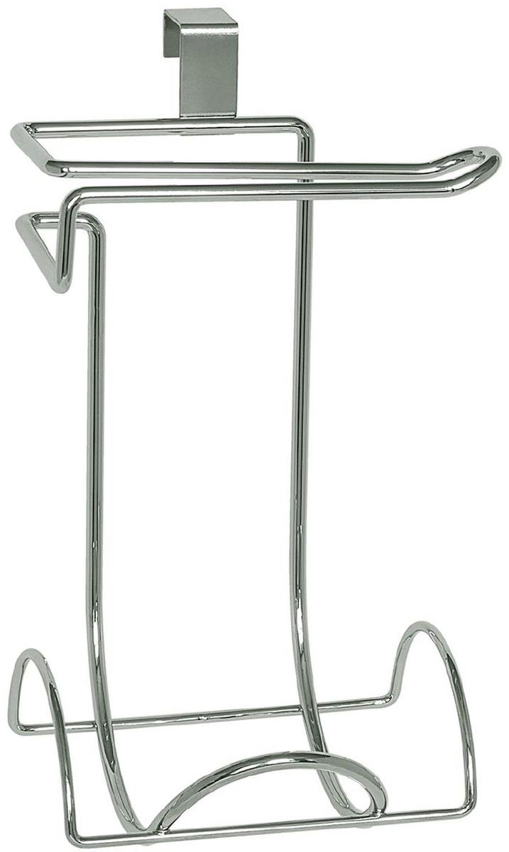 Держатель для туалетной бумаги Wonder Worker Handy, на бачок, для 2 рулонов, цвет: серый металлик, 15 х 12 х 26,5 см этажерка для ванной угловая wonder worker astra