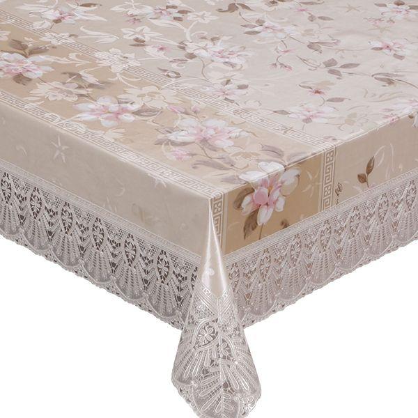 Скатерть Meiwa, овальная, цвет: белый, бежевый, 125 х 228 см скатерти niklen скатерть 110х145см