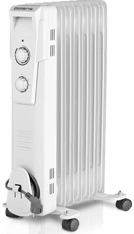 Polaris PRE G 0615 масляный радиатор006624Масляный радиатор Polaris PRE G 0615 обладает всеми теми характеристиками, которые позволяют эффективно обогревать помещения в холодное время года. Внутри данной модели обогревателя расположены ТЭНы, которые прогревают минеральное масло до высоких температур. Это позволяет нагреть 6 металлических секций и обеспечить нужный температурный режим в помещении площадью до 15 квадратных метров. Следует отметить, что такой обогреватель на протяжении определенного времени отдает тепло даже после отключения питания.Пользователь может самостоятельно выбрать один из режимов нагрева, исходя из своих потребностей. Если регулятор установлен на отметке I, мощность радиатора составляет не более 600 Вт. Отметки II и III соответствуют показателям мощности 900 и 1500 ватт. Этого вполне достаточно даже для прогрева помещений с панорамными стеклами и высокими потолками.Масляный радиатор Polaris PRE G 0615 оснащен регулируемым термостатом, который дает возможность поддерживать в обогреваемом помещении заданную температуру. Для этого достаточно медленно повернуть регулятор термостата против часовой стрелки ровно до того момента, когда погаснет индикатор. Как только температура в помещении понизится, устройство автоматически включится и снова деактивируется при достижении необходимого температурного режима.Удобство использования обогревателя PRE G 0615 обеспечивает удобная ручка и колесики, которые помогут перемещать устройство по дому, вне зависимости от напольного покрытия. Хранение данного масляного радиатора существенно упрощает устройство, предназначенное для намотки сетевого шнура.Система безопасности автоматические отключает радиатор Polaris PRE G 0615 в случае его перегрева.Как выбрать обогреватель. Статья OZON Гид