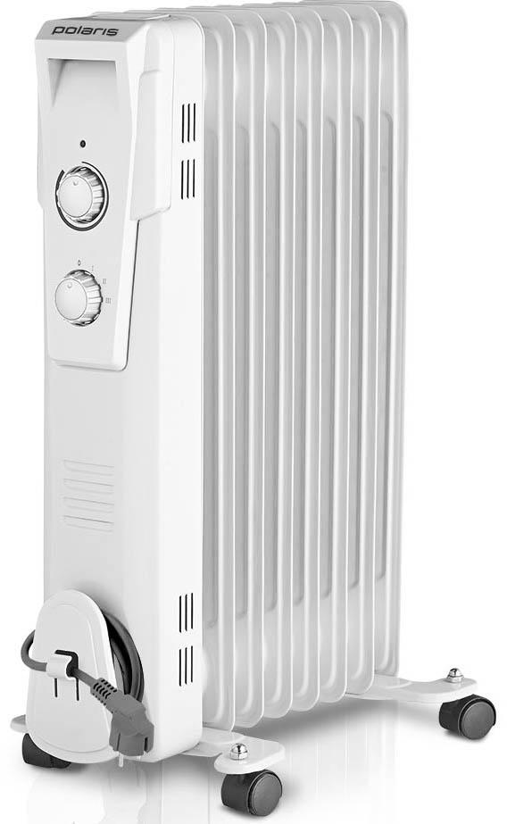 Polaris PRE G 0820 масляный радиатор006626Масляный радиатор Polaris PRE G 0820 обладает всеми теми характеристиками, которые позволяют эффективно обогревать помещения в холодное время года. Внутри данной модели обогревателя расположены ТЭНы, которые прогревают минеральное масло до высоких температур. Это позволяет нагреть 8 металлических секций и обеспечить нужный температурный режим в помещении площадью до 24 квадратных метров. Следует отметить, что такой обогреватель на протяжении определенного времени отдает тепло даже после отключения питания.Пользователь может самостоятельно выбрать один из режимов нагрева, исходя из своих потребностей. Если регулятор мощности установлен на отметке I, энергопотребление радиатора составляет не более 800 Вт. Отметки II и III соответствуют показателям мощности 1200 и 2000 ватт. Этого вполне достаточно даже для прогрева помещений с панорамными стеклами и высокими потолками.Масляный радиатор Polaris PRE G 0820 оснащен регулируемым термостатом, который дает возможность поддерживать в обогреваемом помещении заданную температуру. Для этого достаточно медленно повернуть регулятор термостата против часовой стрелки ровно до того момента, когда погаснет индикатор. Как только температура в помещении понизится, устройство автоматически включится и снова деактивируется при достижении необходимого температурного режима.Удобство использования обогревателя PRE G 0820 обеспечивает удобная ручка и колесики, которые помогут перемещать устройство по дому, вне зависимости от напольного покрытия. Хранение данного масляного радиатора существенно упрощает устройство, предназначенное для намотки сетевого шнура.Система безопасности автоматические отключает радиатор Polaris PRE G 0820 в случае его перегрева.