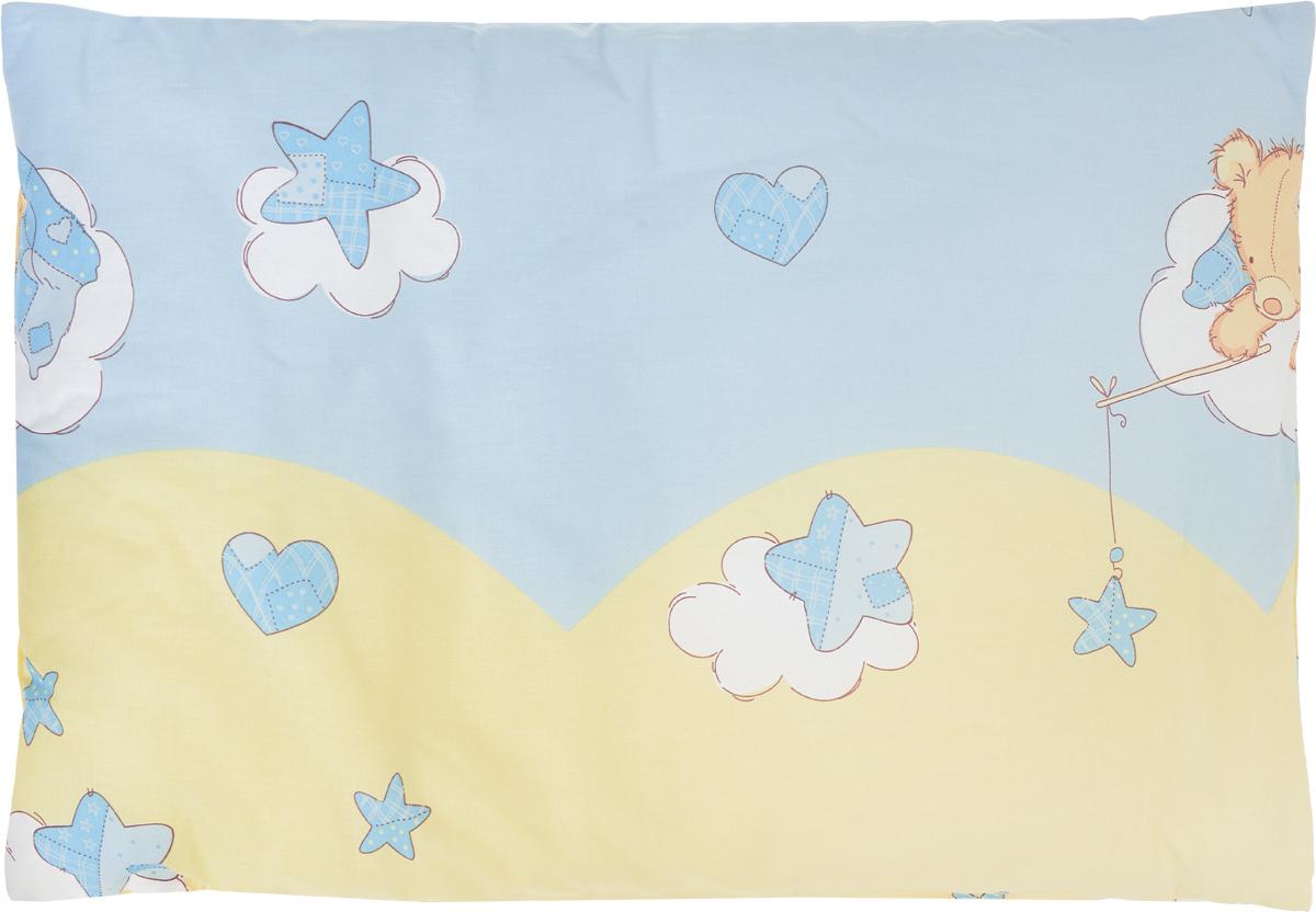 Сонный гномик Подушка детская Мишка на облаке 60 х 40 см555С_голубой, желтыйДетская подушка Сонный гномик изготовлена из бязи - 100% хлопка и создана для комфортного сна вашего малыша. Гипоаллергенные ткани - это залог спокойствия, здорового сна малыша и его безопасности. Наполнитель - синтепон (100% ПЭ) позволит коже ребенка дышать, создавая естественную вентиляцию. Мягкий и воздушный, он будет правильно поддерживать головку ребенка во время сна. Ткань наволочки - нежная и одновременно износостойкая - прослужит вам долгие годы. Уход: не гладить, только ручная стирка, нельзя отбеливать, нельзя выжимать и сушить в стиральной машине, химчистка запрещена.