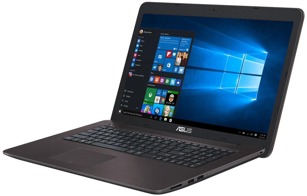 ASUS X756UV, Dark Brown (X756UV-TY388T)X756UV-TY388TНоутбук ASUS X756UV - универсальный мобильный компьютер, одинаково хорошо приспособленный и для работы, и для развлечений. Стильный дизайн, прочный корпус, энергоэффективный процессор и аудиотехнология SonicMaster - вот слагаемые их успеха!Ноутбук ASUS X756UV представляет собой доступное по цене устройство с достаточно мощной конфигурацией. В нем используется процессор Intel Core i3-7100U, чья производительность дополняется современной графической подсистемой NVIDIA GeForce 920MX. Такой ноутбук оптимально подходит для продуктивной работы в многозадачном режиме, равно как и для развлекательных мультимедийных приложений.Эксклюзивная технология Splendid позволяет быстро настраивать параметры дисплея в соответствии с текущими задачами и условиями, чтобы получить максимально качественное изображение. Эксклюзивная система управления энергопотреблением, реализованная в ноутбуке ASUS X756UV позволяет выходить из спящего режима всего за пару секунд, причем в режиме сна устройство может пробыть до двух недель без подзарядки. Если же уровень заряда аккумулятора опустится ниже 5%, произойдет автоматическое сохранение всех открытых файлов, чтобы избежать потери данных.За счет высококачественной встроенной аудиосистемы ноутбук ASUS X756UV является прекрасным выбором для мультимедийных приложений. Благодаря эксклюзивной аудиотехнологии SonicMaster, встроенная аудиосистема ноутбука может похвастать мощным басом, широким динамическим диапазоном и точным позиционированием звуков в пространстве. Помимо аппаратных достоинств (большие динамики и резонаторы), она обладает программными: ее звучание можно гибко настроить в зависимости от предпочтений пользователя и окружающей обстановки.Для настройки звучания служит функция AudioWizard, предлагающая выбрать один из пяти вариантов работы аудиосистемы, каждый из которых идеально подходит для определенного типа приложений (музыка, фильмы, игры и т.д.).Тачпад, которым оснащен ASUS X756UV, обл