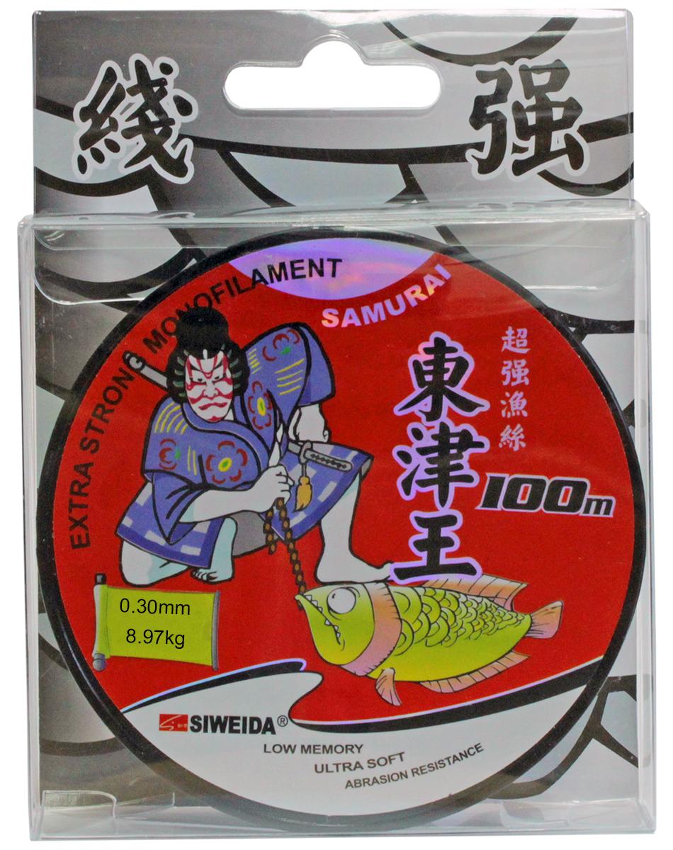 Леска SWD Samurai, цвет: прозрачный, длина 100 м, сечение 0,3 мм, нагрузка 8,97 кг леска daiwa samurai pike цвет светло оливковый 350 м 0 35 мм 10 1 кг