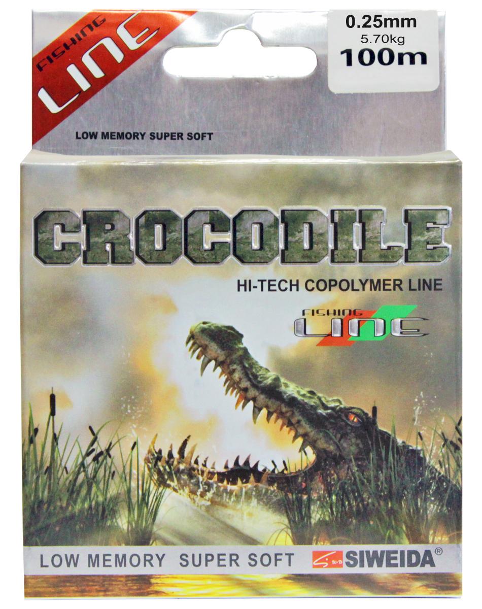 Леска SWD Crocodile, цвет: прозрачный, длина 100 м, сечение 0,25 мм, нагрузка 5,7 кг