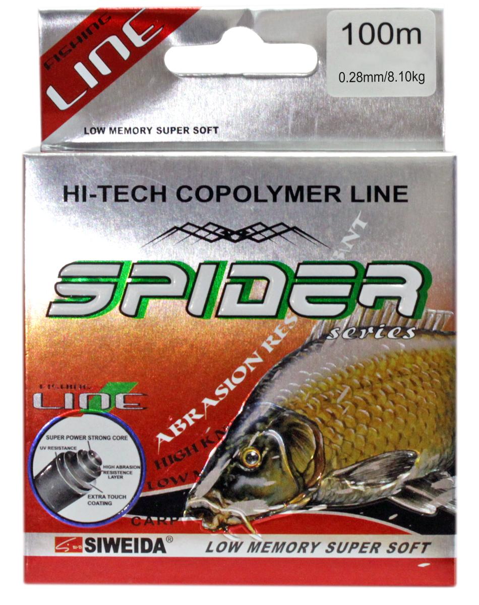 Леска SWD Spider Carp, цвет: черный, длина 100 м, сечение 0,28 мм, нагрузка 8,1 кг5249282Монофильная леска высшего качества сечением 0,28 мм (разрывная нагрузка 8,10 кг) в размотке по 100 м. Не имеет механической памяти. Отличается повышенной прочностью на узле, высокой сопротивляемостью к истиранию и воздействию ультрафиолетовых лучей. Рекомендуется для ловли карпа.