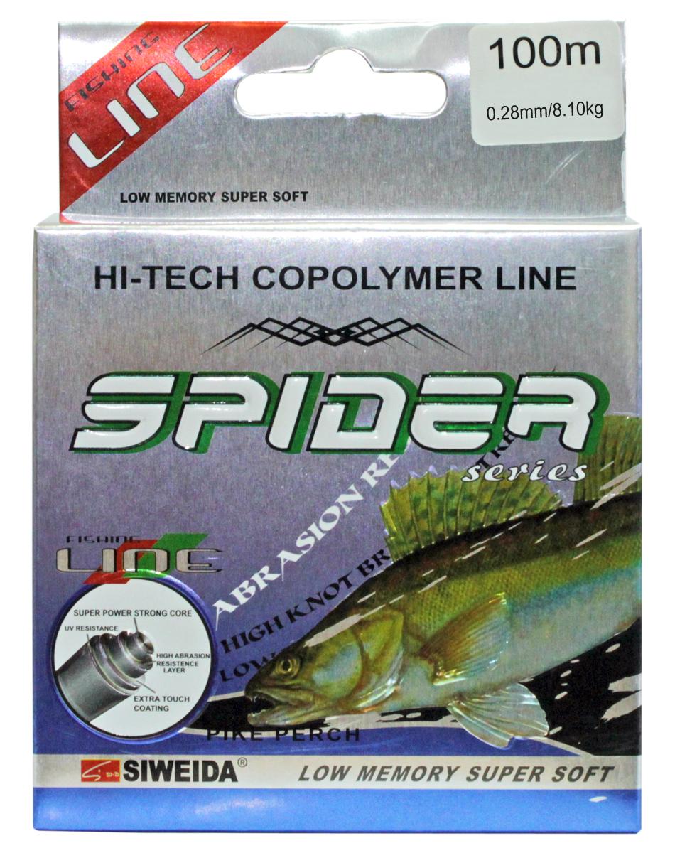 Леска SWD Spider Pikeperch, цвет: желтый, длина 100 м, сечение 0,28 мм, нагрузка 8,1 кг