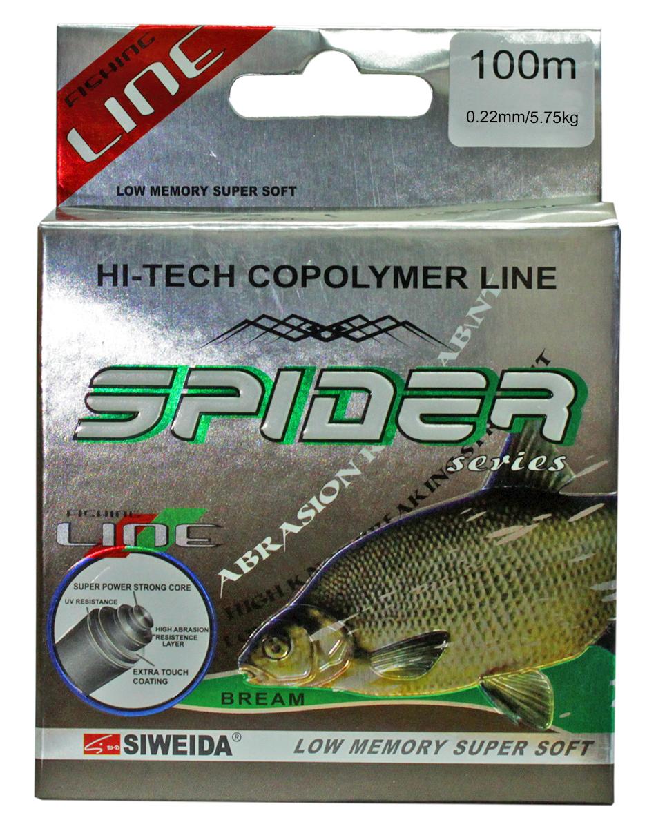 Леска SWD Spider Bream, цвет: прозрачный, длина 100 м, сечение 0,22 мм, нагрузка 5,75 кг леска siweida swd spider bream 100m 0 18mm 3 8kg 5250182