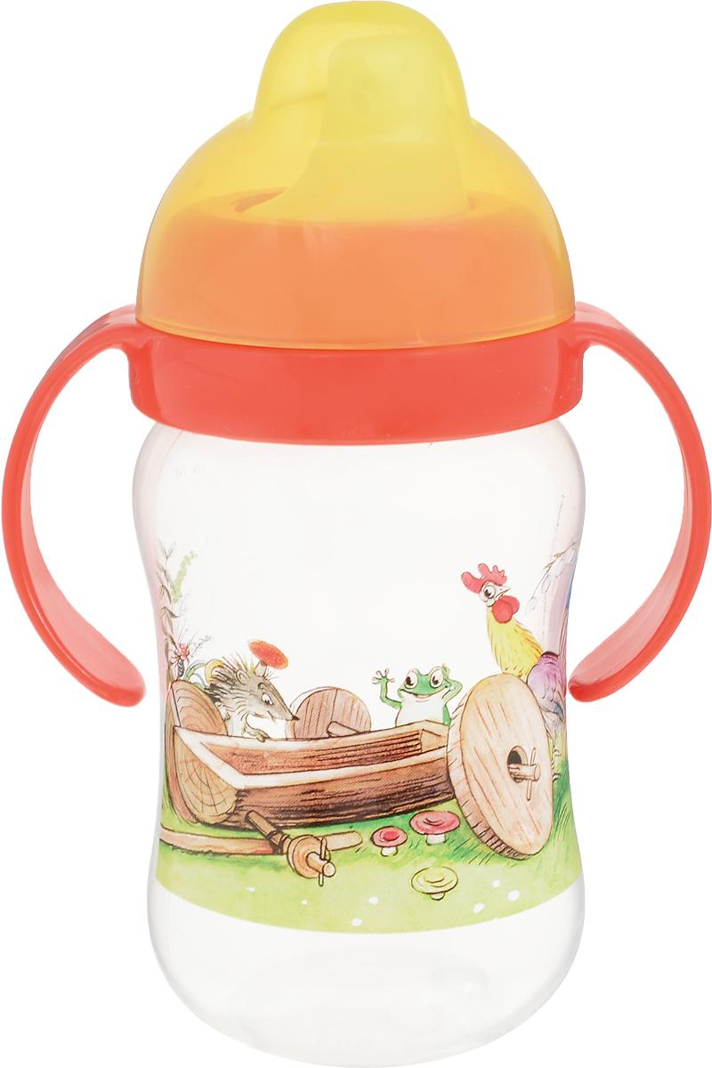 Lubby Поильник-непроливайка с твердым носиком Сказки Сутеева от 6 месяцев цвет желтый оранжевый 250 мл