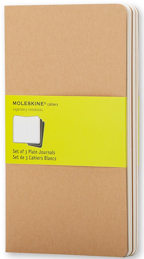 Moleskine Набор записных книжек Cahier Large 40 листов без разметки цвет бежевый 3 шт385314Набор их 3-х тонких записных книжек с нелинованной бумагой станет надежным спутником в путешествиях и превосходным подарком для любого творческого человека. Записные книжки Cashier от Moleskine отличаются гибкой и прочной картонной обложкой черного цвета и хорошо заметной прошивкой на корешке. Последние 16 листов с перфорацией для легкого отрыва. Есть карман для заметок. В каждый набор из 3 штук вложена карточка с историей Moleskine.