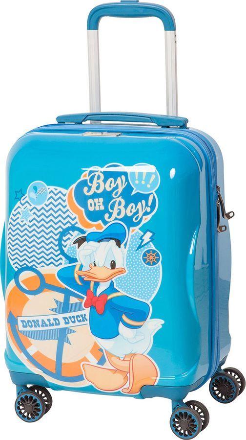 Чемодан детский Sun Voyage Disney. Donald Duck, 33 лSV017-AC044-16Детский чемодан Sun Voyage из пластика ABC+PC (поликарбонат), на 4-х колесах, с рисунком Дональд Дак Корпус пластиковый, 4 колеса.Размер 33x46x24Объем 33 литра.Вес 2,1 кг.Чемодан изготовлен из супер легкого и прочного пластика ABC, покрытого пленкой из поликарбоната. С чемоданом ничего не случится, даже если на него прыгнет малыш.Удобная выдвижная металлическая ручка фиксируется в трех положениях под разный рост ребенка, она будет комфортна и взрослому и малышу.Есть дополнительная боковая ручка.Большое количество разных по размеру и форме карманов и ремни для фиксации одежды позволят сохранить в багаже чистоту и порядок.Половина чемодана полностью закрывается на молнию, вещи не выпадут при открывании. Вторая половина закрыта перегородкой с легко защелкивающимися фиксаторами.Чемодан легко и бесшумно катится на 4-х прорезиненных колесах с металлическими подшипниками и с поворотом на 360 градусов.Есть боковые ножки.Чемодан оснащен замочком.