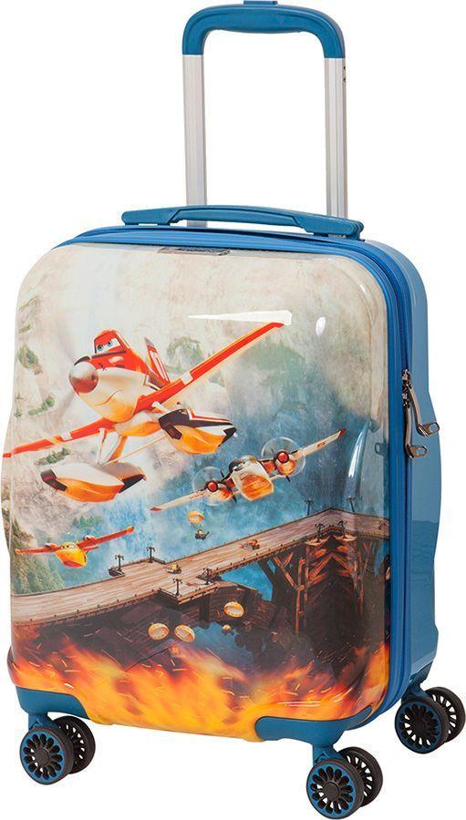 Чемодан детский Sun Voyage Disney. Planes, 33 лSV017-AC041-16Детский чемодан Sun Voyage из пластика ABC+PC (поликарбонат), на 4-х колесах, с рисунком Самолеты Корпус пластиковый, 4 колеса.Размер: 33x46x24 см Объем: 33 лВес: 2,1 кгЧемодан изготовлен из супер легкого и прочного пластика ABC, покрытого пленкой из поликарбоната. С чемоданом ничего не случится, даже если на него прыгнет малыш.Удобная выдвижная металлическая ручка фиксируется в трех положениях под разный рост ребенка, она будет комфортна и взрослому и малышу.Есть дополнительная боковая ручка.Большое количество разных по размеру и форме карманов и ремни для фиксации одежды позволят сохранить в багаже чистоту и порядок.Половина чемодана полностью закрывается на молнию, вещи не выпадут при открывании. Вторая половина закрыта перегородкой с легко защелкивающимися фиксаторами.Чемодан легко и бесшумно катится на 4-х прорезиненных колесах с металлическими подшипниками и с поворотом на 360 градусов.Есть боковые ножки.Чемодан оснащен замочком.