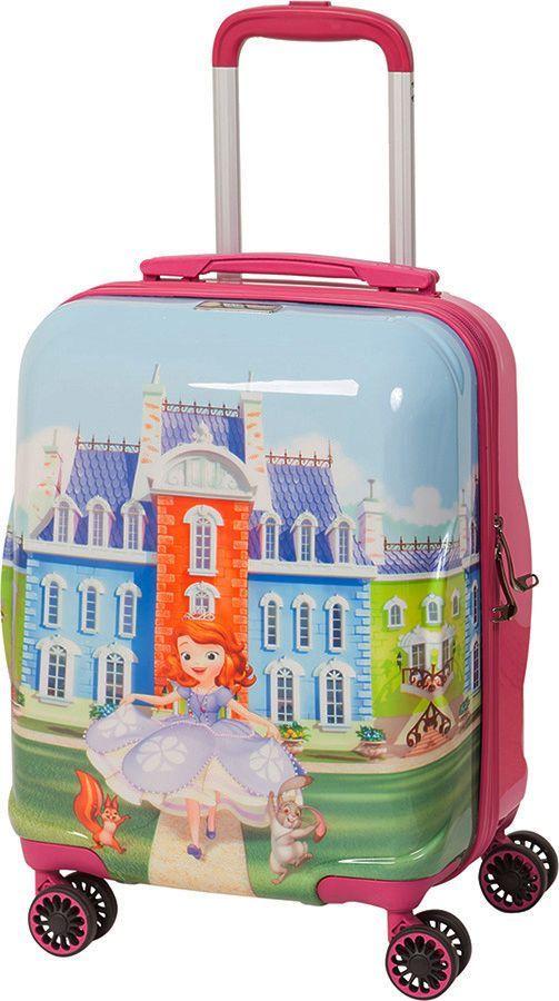 Чемодан детский Sun Voyage Disney. Princess Sofia, на колесах, цвет: розовый, мультиколор, 33 лSV017-AC043-16Детский чемодан Sun Voyage из пластика, на 4-х колесах, с рисунком Принцесса София изготовлен из супер легкого и прочного пластика ABC, покрытого пленкой из поликарбоната. С чемоданом ничего не случится, даже если на него прыгнет малыш. Удобная выдвижная металлическая ручка фиксируется в трех положениях под разный рост ребенка, она будет комфортна и взрослому, и малышу. Есть дополнительная боковая ручка. Большое количество разных по размеру и форме карманов и ремни для фиксации одежды позволят сохранить в багаже чистоту и порядок. Половина чемодана полностью закрывается на молнию, вещи не выпадут при открывании. Вторая половина закрыта перегородкой с легко защелкивающимися фиксаторами. Чемодан легко и бесшумно катится на 4-х прорезиненных колесах с металлическими подшипниками и с поворотом на 360 градусов. Есть боковые ножки. Вес: 2,1 кг; объем: 33 л.Размер: 33 х 46 х 24 см.Как выбрать чемодан. Статья OZON Гид